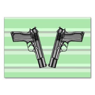 Cartoon style illustration of two handguns card