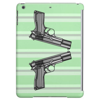 Cartoon style illustration of two handguns iPad air covers