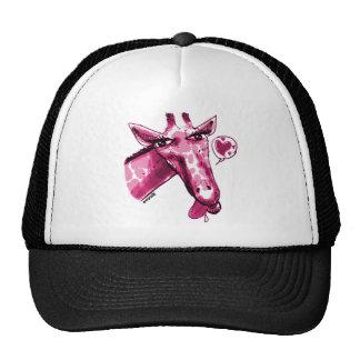 cartoon style lovely giraffe purple trucker hat