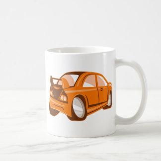 Cartoon style sports car isolated coffee mug