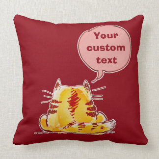 cartoon style tabby cat with custom text throw pillow