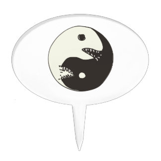 cartoon style yin and yang fight cake topper