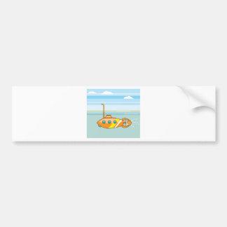 cartoon submarine bumper sticker