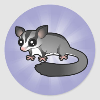 Cartoon Sugar Glider Classic Round Sticker