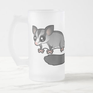 Cartoon Sugar Glider Frosted Glass Beer Mug