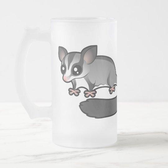 Cartoon Sugar Glider Frosted Glass Beer Mug