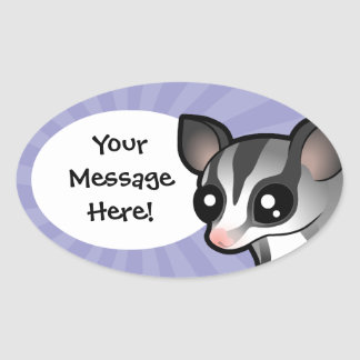 Cartoon Sugar Glider Oval Sticker