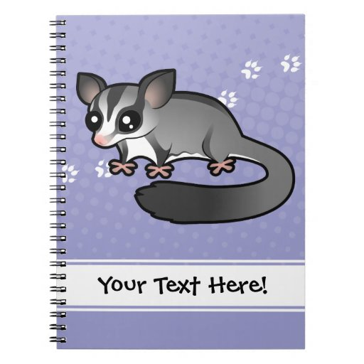 Cartoon Sugar Glider Spiral Notebook