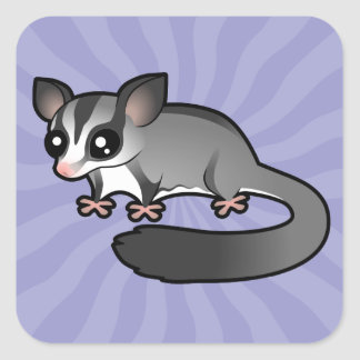 Cartoon Sugar Glider Square Sticker