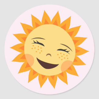Cartoon sun adorable pink stickers for girls