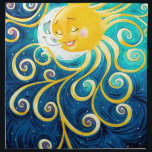 "cartoon sun and moon love peace napkin<br><div class=""desc"">Sun and Moon Art</div>"