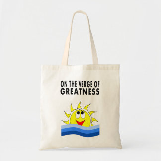Cartoon Sun Rising over Blue Water Tote Bag