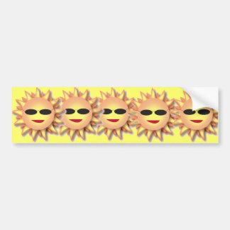 Cartoon Sun Wearing Cool Shades Bumper Sticker