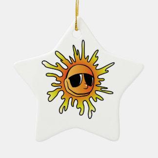 Cartoon Sun Wearing Sunglasses Ceramic Ornament