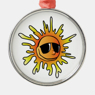 Cartoon Sun Wearing Sunglasses Metal Ornament