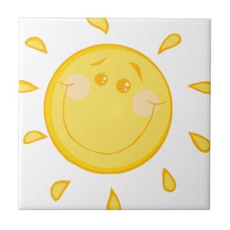 Cartoon sunny sun ceramic tile