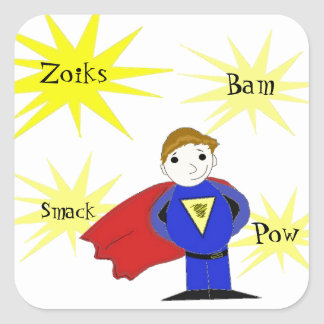 Cartoon Super Hero with Action Words Square Sticker