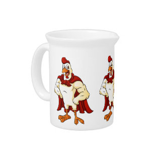 Cartoon super rooster posing beverage pitcher