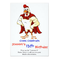 Cartoon super rooster posing invitation