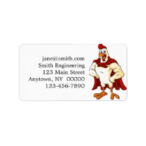 Cartoon super rooster posing label