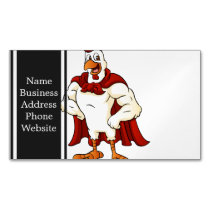 Cartoon super rooster posing magnetic business card