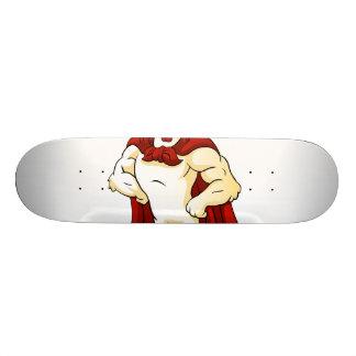 Cartoon super rooster posing skateboard