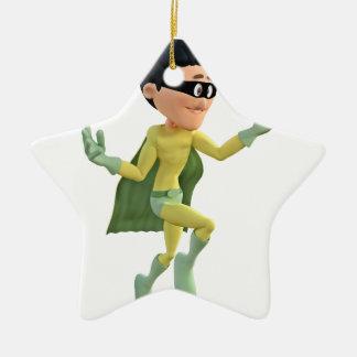 Cartoon Super Toon Man Flying in the Air Ceramic Ornament