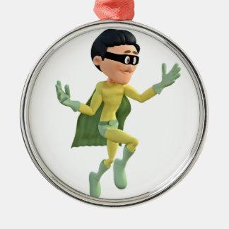 Cartoon Super Toon Man Flying in the Air Metal Ornament