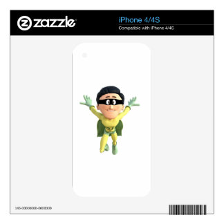 Cartoon Super Toonman in Lime and Green Decals For iPhone 4