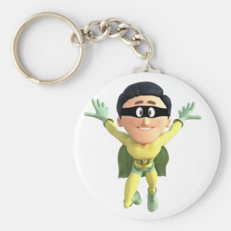 Cartoon Super Toonman in Lime and Green Keychain