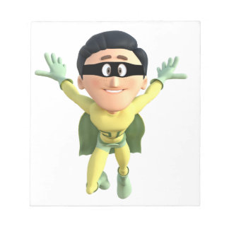 Cartoon Super Toonman in Lime and Green Notepad