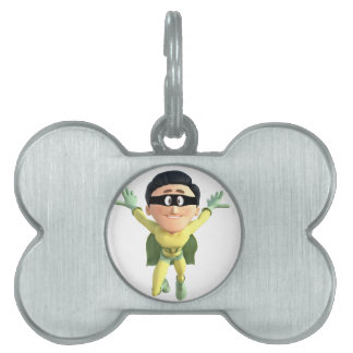 Cartoon Super Toonman in Lime and Green Pet ID Tag