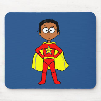 Cartoon Superhero Boy Red and Yellow Suit Mouse Pad