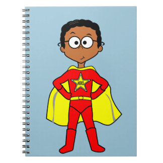 Cartoon Superhero Boy Red and Yellow Suit Spiral Note Book