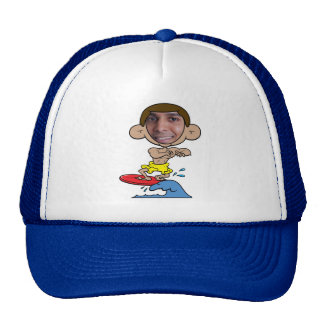 Cartoon Surfer Cut Out Face Template Trucker Hat