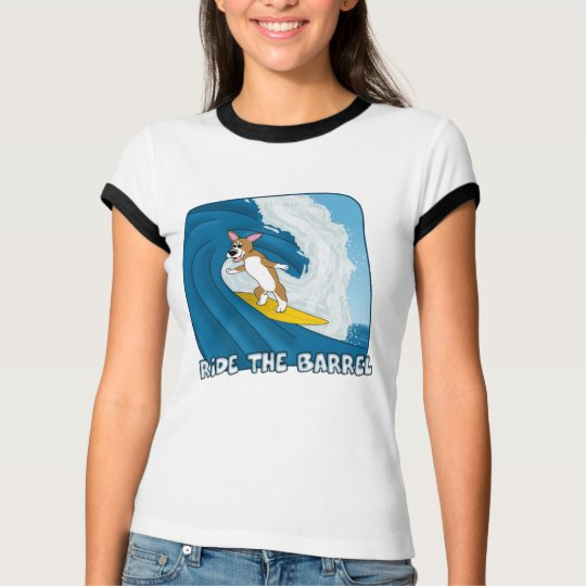 Cartoon Surfing Corgi Ladies T-Shirt