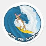 Cartoon Surfing Corgi Stickers