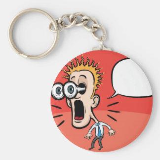 Cartoon surprising businessman with speech bubble basic round button keychain