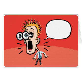 Cartoon surprising businessman with speech bubble card