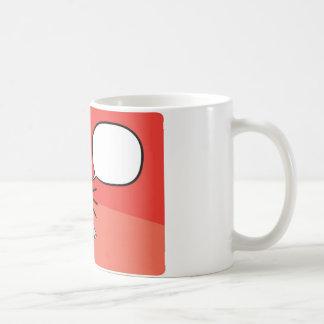 Cartoon surprising businessman with speech bubble coffee mug