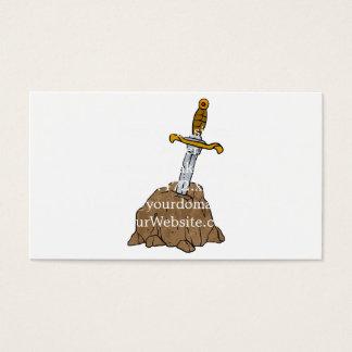 cartoon sword in stone business card