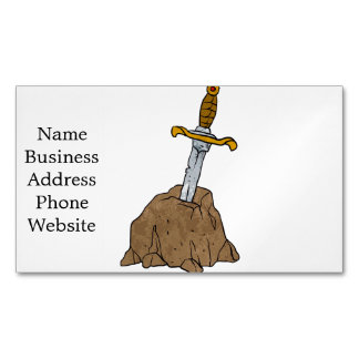 cartoon sword in stone business card magnet