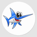 Cartoon Swordfish Classic Round Sticker