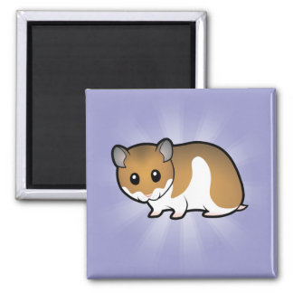 Cartoon Syrian Hamster 2 Inch Square Magnet