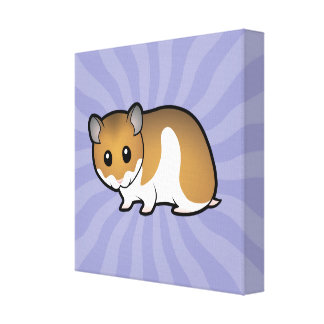 Cartoon Syrian Hamster Stretched Canvas Print