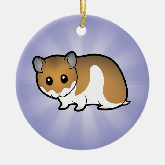 Cartoon Syrian Hamster Ceramic Ornament