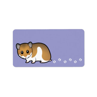 Cartoon Syrian Hamster Label