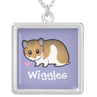 Cartoon Syrian Hamster Silver Plated Necklace