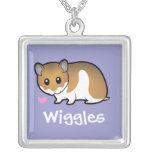 Cartoon Syrian Hamster Square Pendant Necklace