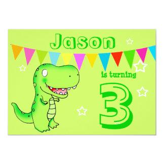 cartoon T-rex dinosaur Birthday Party kids Card